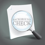 Background Check. Reviewing a background check report with a magnifying glass Stock Image