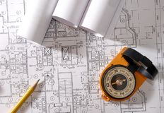 Reviewing a blueprint royalty free stock image