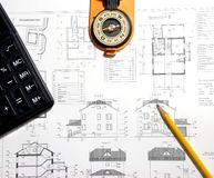 Reviewing a blueprint Stock Photo