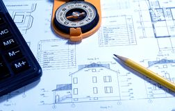 Reviewing a blueprint Stock Images