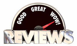 Reviews Feedback Ratings Good Great Wow Speedometer Stock Photo