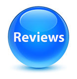 Reviews glassy cyan blue round button Stock Photography