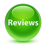 Reviews glassy green round button Stock Photos