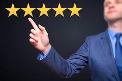 Revisão, avaliação ou classificação do aumento, avaliação e classificatio Imagem de Stock