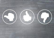 Revisão com seu conceito dos ícones do polegar foto de stock royalty free