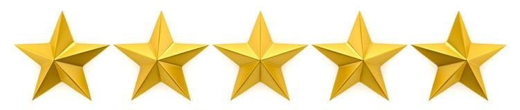 Revisão de uma a cinco estrelas ilustração stock