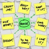 Revisões e comentários positivos do elogio em notas pegajosas Imagens de Stock Royalty Free