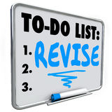 Revise Word To Do List Make Change Improvement Fix Problem. Revise word written on a to do list on dry erase board to illustrate a change, improvement or fix you Stock Images