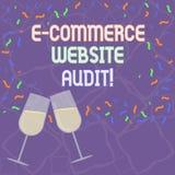 Revision för Website för kommers för handskrifttext E Begreppsbetydelse som utvärderar sökandemotornivån av synlighet fyllt vin vektor illustrationer