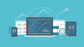 Revision forskning, redovisning, analysbegrepp Rengöringsduk och online-mobilservice Dokument diagramgrafer på skärmar av en bärb royaltyfri illustrationer