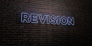 REVISION -Realistic Neon Sign on Brick Wall background - 3D rendered royalty free stock image. Can be used for online banner ads and direct mailers stock illustration