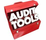 Revisão da contabilidade de imposto da caixa de ferramentas das ferramentas de auditoria Fotos de Stock