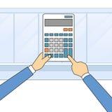 Revisor för skrivbord för kontor för hand för räknemaskinaffärsman vektor illustrationer