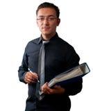 Revisor med den svarta skjortan på vit bakgrund Arkivbilder