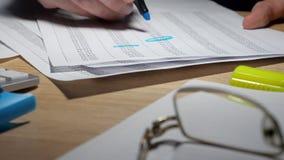 Revisor som arbetar med finansiella data och redovisningsboken stock video