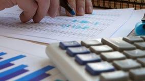 Revisor som kontrollerar den finansiella rapport- eller redovisningsboken stock video