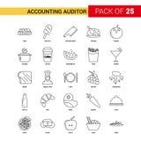Revisore dei conti Black Line Icon - Se di contabilità dell'icona del profilo di 25 affari illustrazione vettoriale