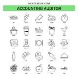 Revisore dei conti Line Icon Set - stile tratteggiato di contabilità del profilo 25 illustrazione di stock