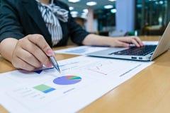 Revisorer undersöker företagets finanser för att förbereda affär arkivfoton