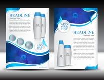 Revista azul del hoja informativa del diseño de la plantilla del aviador del folleto del negocio Foto de archivo libre de regalías