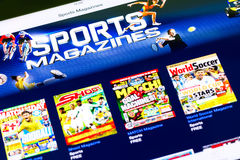Revistas de los deportes en iPad Fotos de archivo