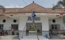 Revitalization of City Station. Workers repairing parts of the city solo station in the area of central java Indonesia Sangkrah solo. This revitalization is Royalty Free Stock Photo