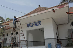 Revitalization of City Station. Workers repairing parts of the city solo station in the area of central java Indonesia Sangkrah solo. This revitalization is Royalty Free Stock Photos