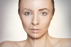Revitalization concept face before and after. Tow halves of caucasian woman face Stock Photos
