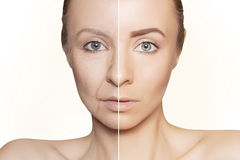 Revitalization concept face before and after. Tow halves of caucasian woman face Royalty Free Stock Photography