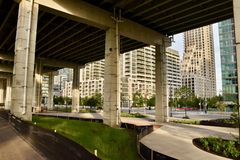 Revitalizing Underused Urban Public Spaces. The huge area beneath the elevated expressway in downtown Toronto being transformed from urban blight into vibrant royalty free stock images