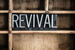 Revival Concept Metal Letterpress Word in Drawer Stock Image