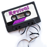 Revival disco music musical genres audio tape label.  stock photography