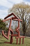 Revival. This is an early Spring picture of a piece of public art titled: Revival, on display at the Skokie Northshore Sculpture Park located in Skokie, Illinois Royalty Free Stock Images