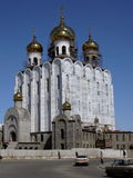 Revival of Orthodoxy in Russia. The new orthodox temple is under construction Stock Photography
