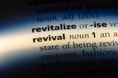 Revival. Word in a dictionary.  concept stock images