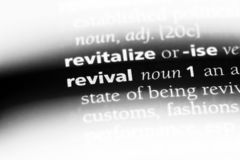 Revival. Word in a dictionary.  concept stock photos