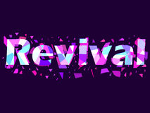 Revival, text with flying triangles. Interference, glitch art. Vector Stock Image