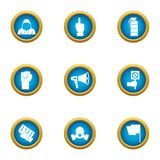 Revolt icons set, flat style. Revolt icons set. Flat set of 9 revolt vector icons for web isolated on white background Stock Images