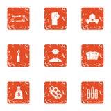 Revolt icons set, grunge style. Revolt icons set. Grunge set of 9 revolt vector icons for web isolated on white background royalty free illustration