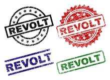 Scratched Textured REVOLT Seal Stamps. REVOLT seal prints with distress texture. Black, green,red,blue vector rubber prints of REVOLT title with corroded texture stock illustration