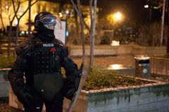 Revolt in Slovenia. 11/30/2012 Ljubljana, Slovenia A riot policeman is wearing a flower on his vest while guarding an anti-government demonstration in Ljubljana Royalty Free Stock Image