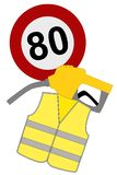 Revolt of yellow vests in France, gaz, 80 km/h. The revolt of yellow vests in France, gaz, 80 km/h stock illustration