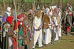 A revolta a dos camponeses d 1573 , camponeses, reenactment da batalha final, 22, Stubica, Croácia, 2016 fotos de stock