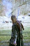 A revolta a dos camponeses d 1573 , reenactment da batalha final, guerreiro cansado, 21, Stubica, Croácia, 2016 fotos de stock royalty free