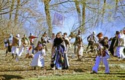 A revolta a dos camponeses d 1573 , reenactment da batalha final, heroína que anda, 23, Stubica, Croácia, 2016 fotografia de stock royalty free