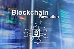 Revolução de Blockchain, tecnologia da inovação no negócio moderno ilustração royalty free