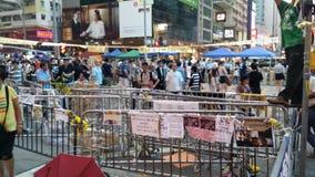 A revolução 2014 do guarda-chuva dos protestos de Nathan Road Occupy Mong Kok Hong Kong ocupa a central Fotografia de Stock Royalty Free