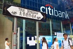 Revolução do guarda-chuva em Mong Kok Fotografia de Stock