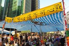 Revolución del paraguas en Mong Kok Fotografía de archivo libre de regalías