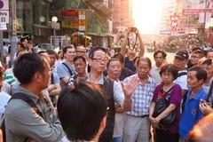 Revolución del paraguas en Mong Kok Imagen de archivo libre de regalías